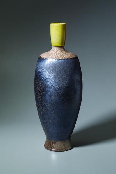 Mark Hewitt, 'Vase, yellow rim, pink dotted shoulder, and crinkled slip body', 2018