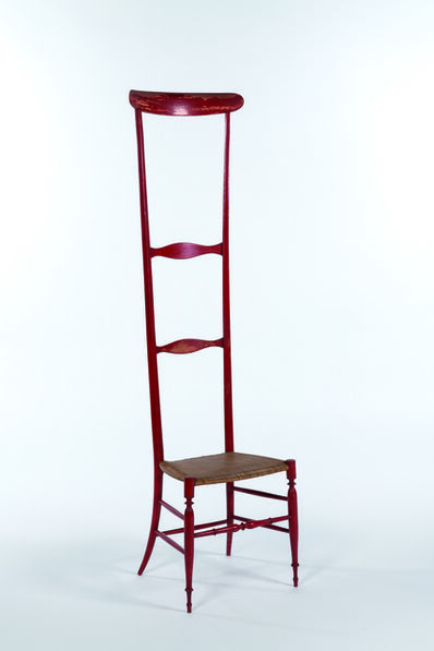 Travail Italien, 'Chiavarina chair with high back in red painted wood', vers 1950