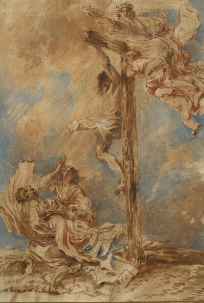 Giovanni Benedetto Castiglione, 'Crucifixion with the Virgin, Saints John and Mary Magdalene, and God the Father', ca. 1651