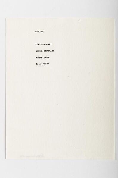 Carl Andre, 'Salute', 1958