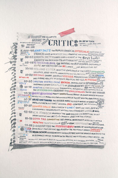 William Powhida, 'An Incomplete and Biased Guide to Some Critics', 2011