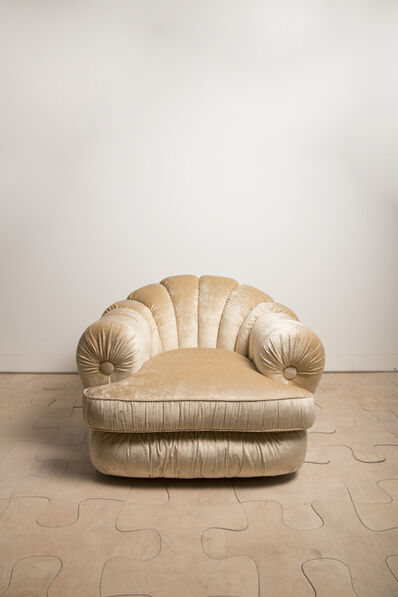Marzio Cecchi, 'Pair of armchairs in champagne colored velvet and goldened metal', ca. 1970