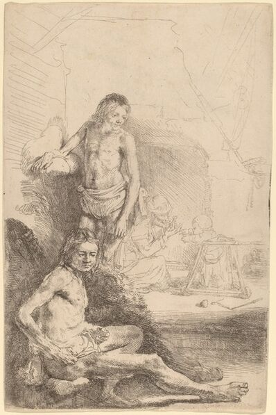 Rembrandt van Rijn, 'Nude Man Seated and Nude Man Standing,  with a Woman and Baby in the Background', ca. 1646
