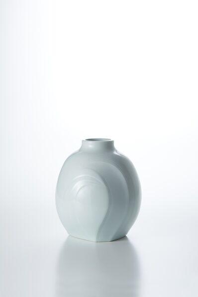 Peter Mark Hamann, 'Sculpted Blue-White Porcelain Flower Vase with Wave Patterns', 2016