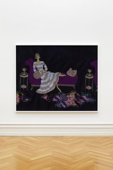 Tobias Kaspar, 'Lady in Striped Dress on Daybed (silver, blue, purple)', 2018
