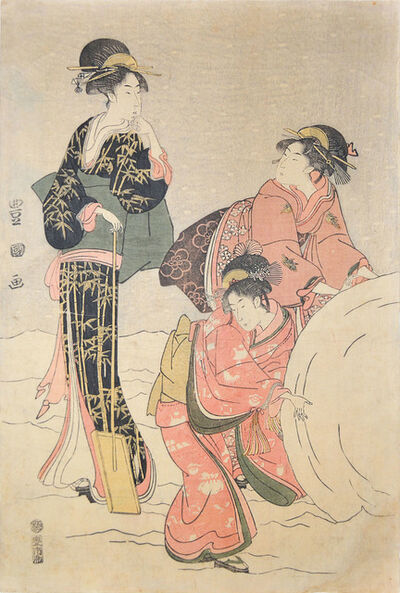 Utagawa Toyokuni I, 'Beautiful Women Making Giant Snowball', ca. 1796