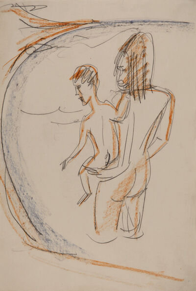 Ernst Ludwig Kirchner, 'Frau und Kind am Meeresstrand von Fehmarn', ca. 1913