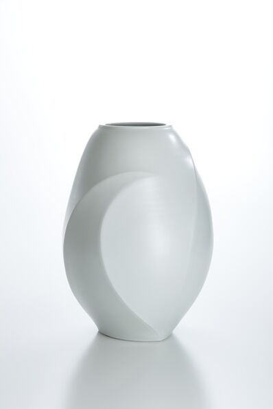 Peter Mark Hamann, 'Sculpted White Porcelain Vase with Moon Patterns', 2014