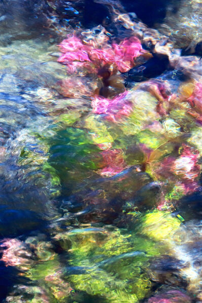 Larry Garmezy, 'My Giverny #1 - Impressionist waterscape photography, Abstract water photograph, floral, natural abstraction, Rocky Mountains, Idaho, Montana, in blue, green and pink', 2019