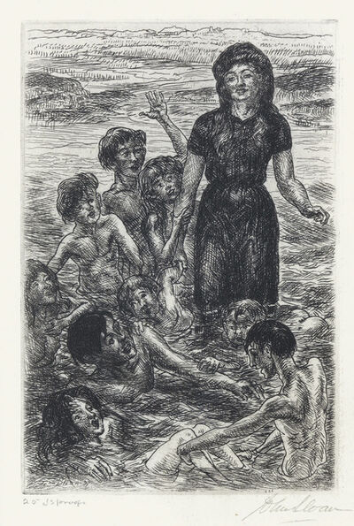 John Sloan, 'Sally, Kids and Philip Bathing', 1937