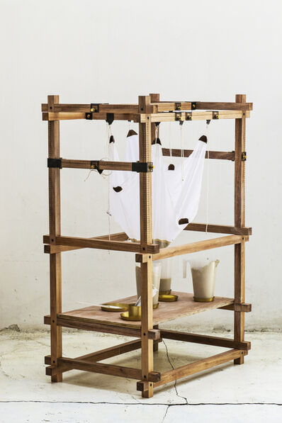 "gt2P, 'Machine in wood, part of the series ""Less N1 Catenary Pottery Printer""', 2014"