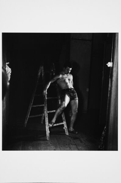 Karlheinz Weinberger, 'Man on ladder in KHW studio', 1955