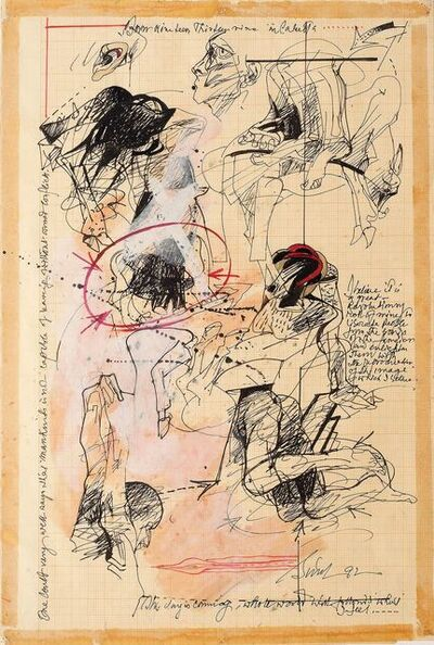 "Sunil Das, 'Human & Animal Limbs, Torsos, Ink, Watercolor, Acrylic on Graph Paper ""In Stock""', 1992"