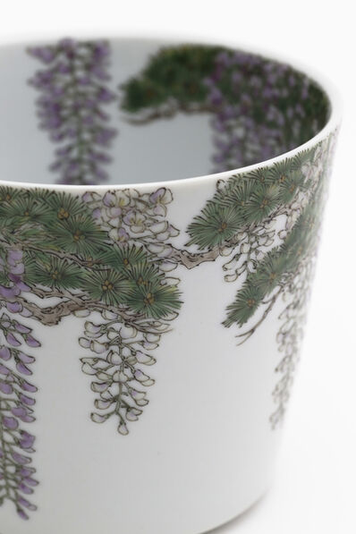 Ruri Takeuchi, 'Tea bowl with wisteria and pine tree pattern 'Wakamurasaki'', 2018