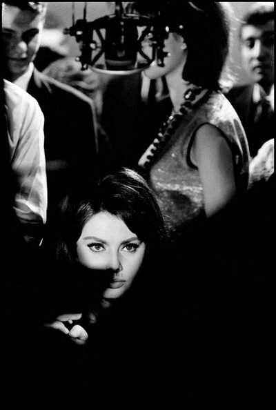 "Elliott Erwitt, 'Sophia Loren during the filing of ""Five Miles to Midnight""', 1962"
