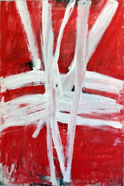 Tony Tuckson, 'TP 197 White Lines (vertical and horizontal on red)', ca. 1972