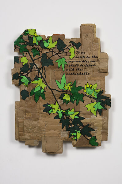 Andrea Bowers, 'If We Do Not Do the Impossible We Shall Be Faced With the Unthinkable, Quote by Petra Kelly from Her Closing Speech at the International Green Congress, Stockholm, Sweden, August 30, 1987 (Ecofeminist Sycamore Branch Series)', 2020