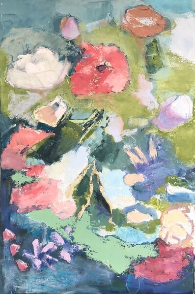 """Anne Harney, '""""Floral 1"""" impressionist style still life oil painting with pink, purple, white and green', 2020"""