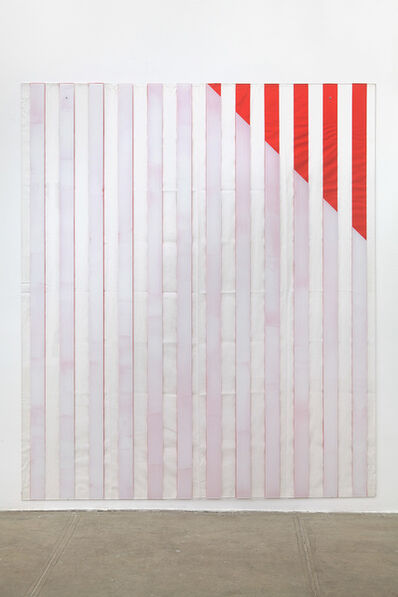 Daniel Buren, 'Paint On/Under Plexiglas on Serigraphy, Right Corner Up Out, No. 4 Red, Situated Work', 2013