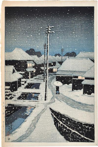 Kawase Hasui, 'Twelve Scenes of Tokyo: Evening Snow at Terajima Village', 1920