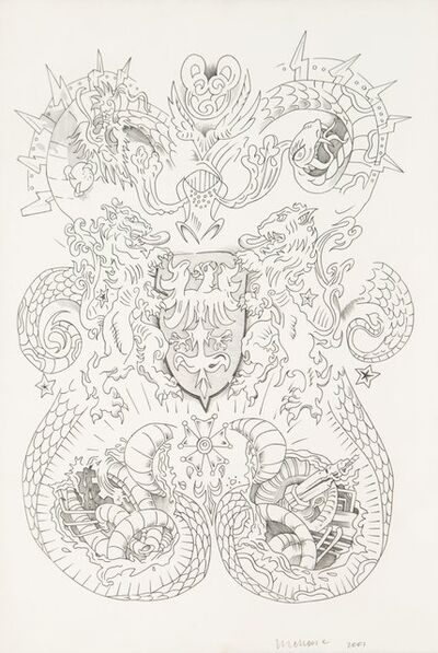 Wim Delvoye, 'Untitled (Heraldic), study for tattooed and tanned pigskin', 2001