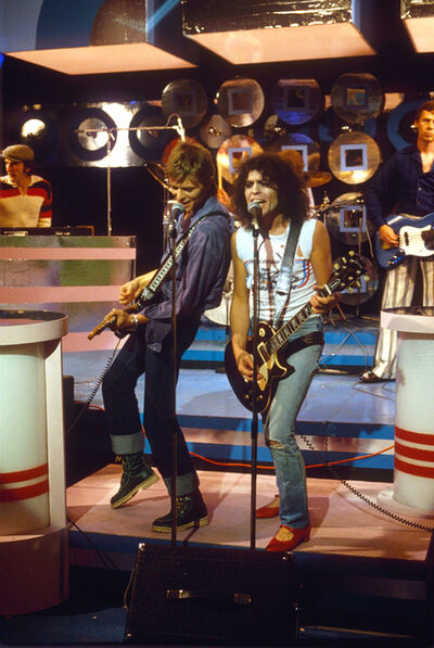 Sheila Rock, 'David Bowie & Marc Bolan on the TV Show 'Marc', 7th September 1977', 1977