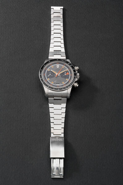 Tudor, 'A fine and very rare stainless steel chronograph wristwatch with date and bracelet', Circa 1971
