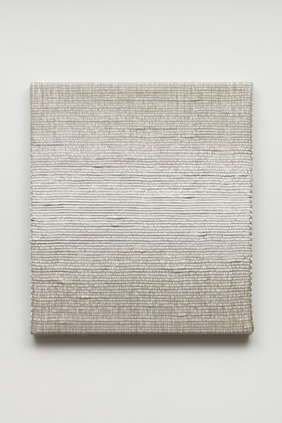 Analia Saban, 'Woven Horizontal Reflected Linear Gradient as Weft (Center, White)', 2019