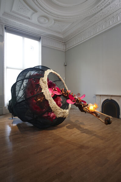 Rina Banerjee, 'The world as burnt fruit - When empires feuded for populations and plantations, buried in colonial and ancient currency a Gharial appeared from an inky melon - hot with blossom sprang forth to swallow the world not yet whole as burnt fruit', 2009