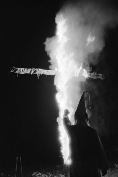 Constantine Manos, 'Ku Klux Klan (klansmen and burning cross), Columbia, South Carolina', 1952