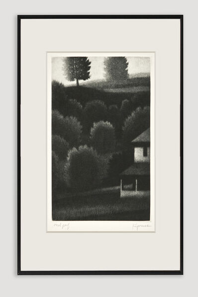 Robert Kipniss, 'Porch and Hillside Mezzotint', 1991