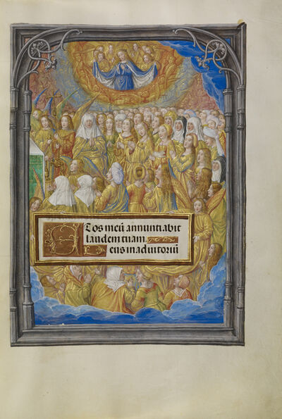 Master of James IV of Scotland, 'Female Martyrs and Saints Worshipping the Lamb of God', 1510-1520