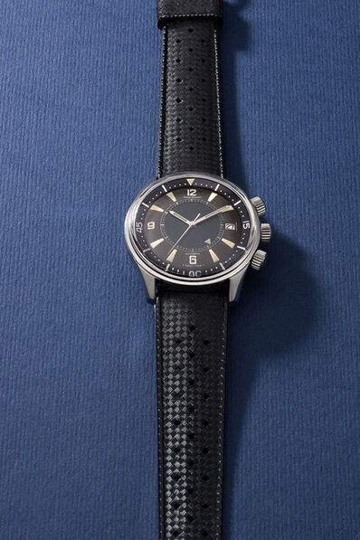 Jaeger LeCoultre, 'A very rare and well-preserved stainless steel diver's wristwatch with sweep center seconds, date, alarm function, additional bracelet, blank guarantee and box', 1965