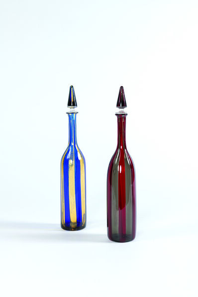 Paolo Venini, 'Set of two bottles with stopper «A Fasce Verticali» in Murano glass', vers 1950