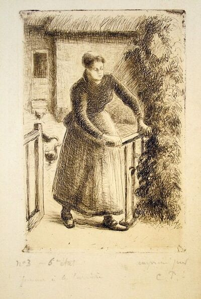Camille Pissarro, 'Woman at the Gate', 1889