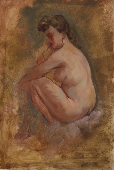 George Grosz, 'Weiblicher Akt, nachdenklich sitzend', 1939