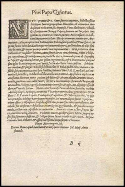 Giorgio Vasari, 'Page titled Pius Papa Quintus', 1568