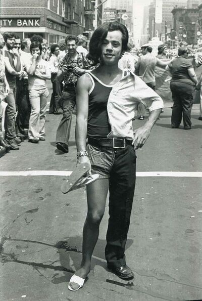Fred W. McDarrah, 'Uniform of the Day, Mixed Message, Gay Pride March', June 29-1975
