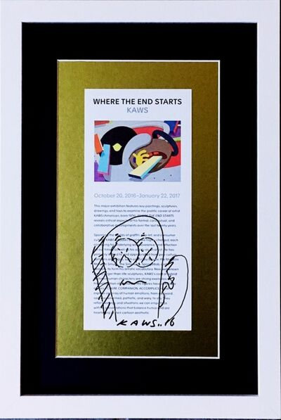 KAWS, 'Original signed drawing, gifted by KAWS to staff of Museum of Modern Art, Ft. Worth, Texas, accompanied by handwritten letter of provenance from the museum employee', 2016