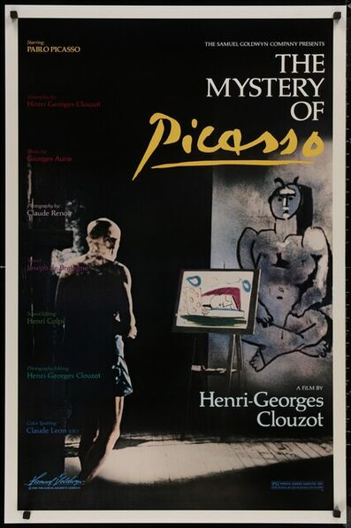 Pablo Picasso, 'MYSTERY OF PICASSO 1986 Le Mystere Picasso, Henri-Georges Clouzot & Picasso, An Original Movie Second Release Poster, The magnets in the corners are there for the photography and not on the actual poster. ', 1986