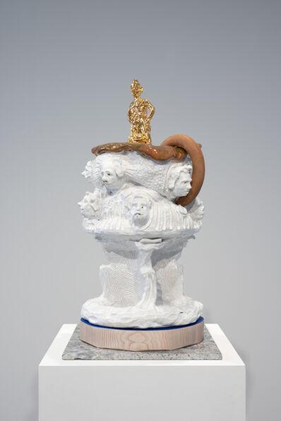 sebastian neeb, 'Suppenschüssel mit goldenem Tödlein und fliehender Wurst - oder: Der Mensch bei der Eroberung der Welt', 2019