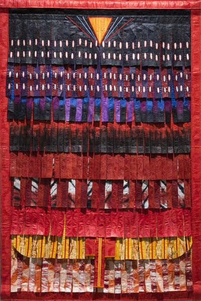 Abdoulaye Konaté, 'Triangle aux traits (rouge)', 2017