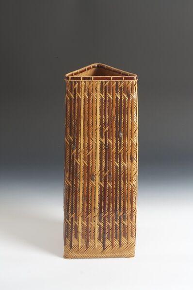 """Tsujimura Ichirō, '""""Bamboo Shower"""" Triangular Flower Basket (T-3344)', Heisei era (1989, present), dated 2009"""