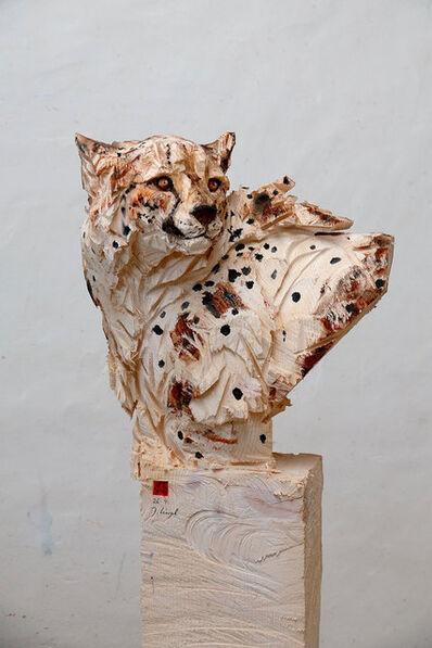 Jürgen Lingl-Rebetez, 'Bust of Cheetah, Turning His Head Around', 2021