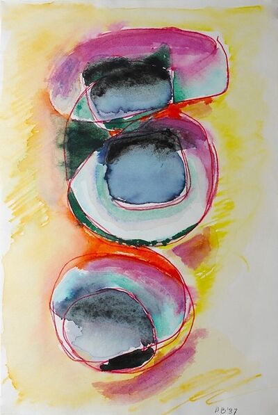 Dusti Bongé, 'Untitled (Black and Multicolor Circles on Yellow Ground)', 1987