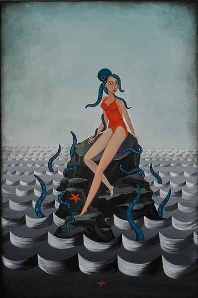 Anne Faith Nicholls, 'Girl with Octopus on Rocks', 2015