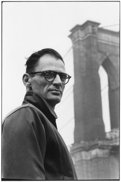 Elliott Erwitt, 'Arthur Miller in Front of Brooklyn Bridge, New York', 1954