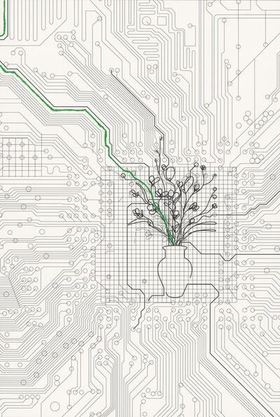 Analía Saban, 'Bouquet of Flowers within Cirquit Board (with green line)', 2014