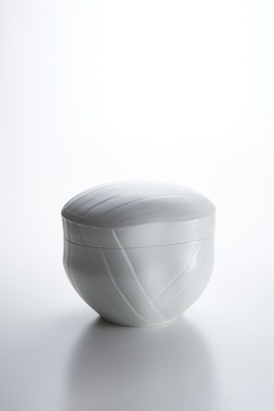 Peter Mark Hamann, 'Sculpted White Porcelain Lidded Box with Obi Pattern', 2017
