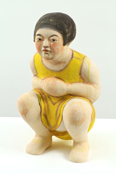 Akio Takamori, 'Squatting Girl in Yellow Dress', 2012